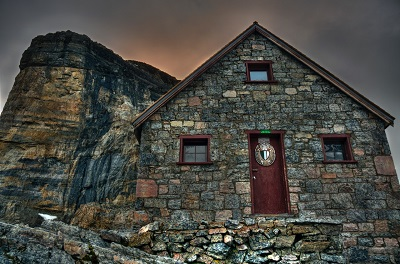 Cabin built from stone in Yoho National Park
