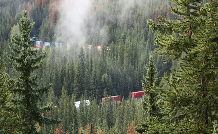 Train going into Spiral Tunnels in Yoho National Park
