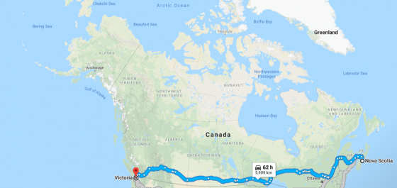 Canada Map Illustration with Route Across Canada from Vancouver to the East Coast