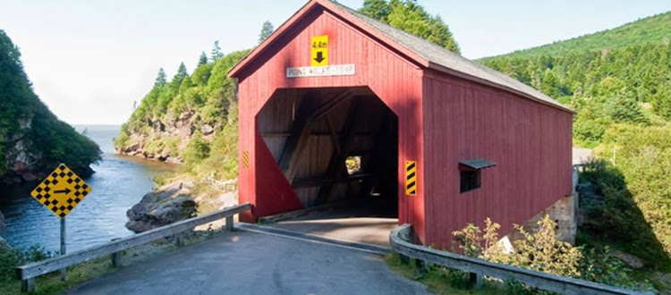 Red covered bridge in Fundy National Park