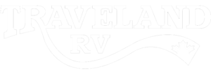 Traveland RV rentals logo; white with transparent background