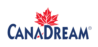 Image of Canadream logo, blue Canadream writing with red maple leaf