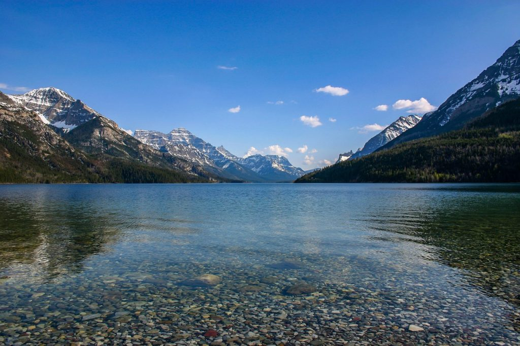 Crystal clear water of Waterton Lake