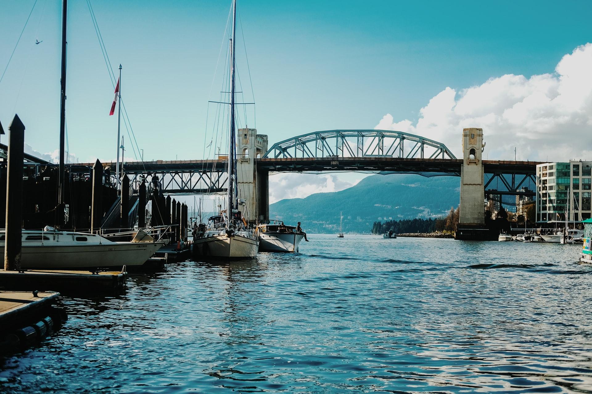 Granville Island bridge over water in Vancouver