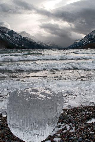 icy Waterton lake
