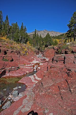 Red rocks and creek in Waterton